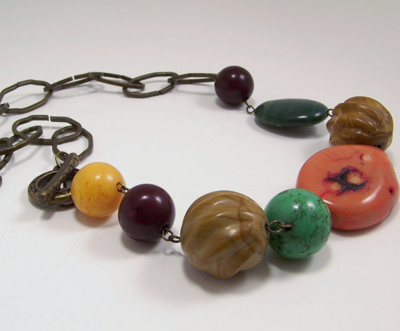 Handmade Amber, Pumpkin Orange Coral, Green Magnesite, Jade and Nutshell Brown Stone Beaded Necklace with Chunky Link Brass Chain