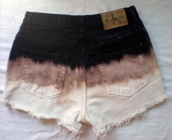Brand New Calvin Klein Ombre Trifecta High Waist Shorts Frayed