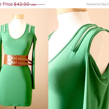 SALE End of Summer Bodycon, Cocktail, Green, Statement, Dress, With Cut-Out Sleeves in Emerald (S, M, L)