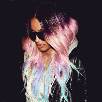 P A L E pastel paradise/ rainbow/ human hair extension/ clip-in hair/ dip dye ombre  (10) hair extension