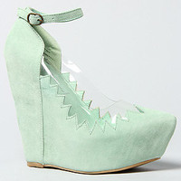 The Audrey II Shoe in Mint Suede
