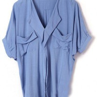 Loose Blouse with Twin Draped Pockets