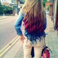 C O T T O N candy pink and blue ombre/ dip dye/ duo colored pastel/ free people/ rainbow/ clip-in human (6) hair extensions