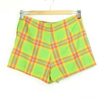 Lime Green Check Shorts | S-M