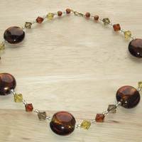 Beaded Necklace in Brown, Amber and Taupe