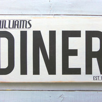 Typography Wall Art -Personlized Diner Wood Sign White