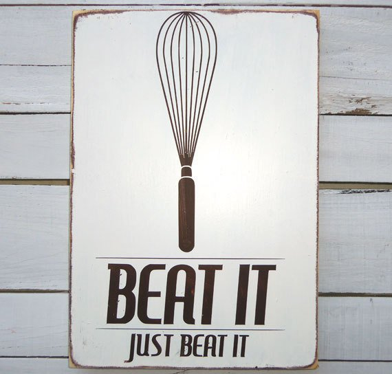 Typography Wall Art -Beat It Wood Sign White