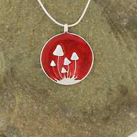 Handmade silver plated reversible pendant necklace--mushroom & wine - 