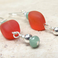 Orange Sea Glass Earrings:  Tangerine Tango, Mint Green Aventurine Dangle Summer Beach Jewelry