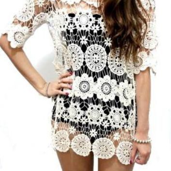 Cream White Floral Bohemian Crochet Lace Tunic Dress