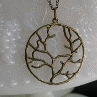 Tree necklace- Family tree Necklace - Antique bronze tree necklace- Round tree pendant- - Nature- Fashion- Spring accessory