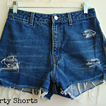 High Waisted Shorts Distressed Ripped Denim Jean Shorts Size 8