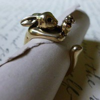 Gold Hungry Bunny Ring 7-8