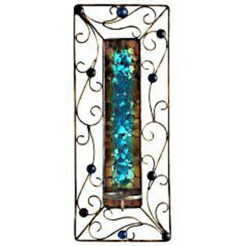 Turquoise & Brown Pillar Wall Sconce