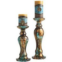 Teal & Gold Ceramic Pillar Holders