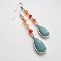 Carnelian and Sea Foam Beaded Earrings