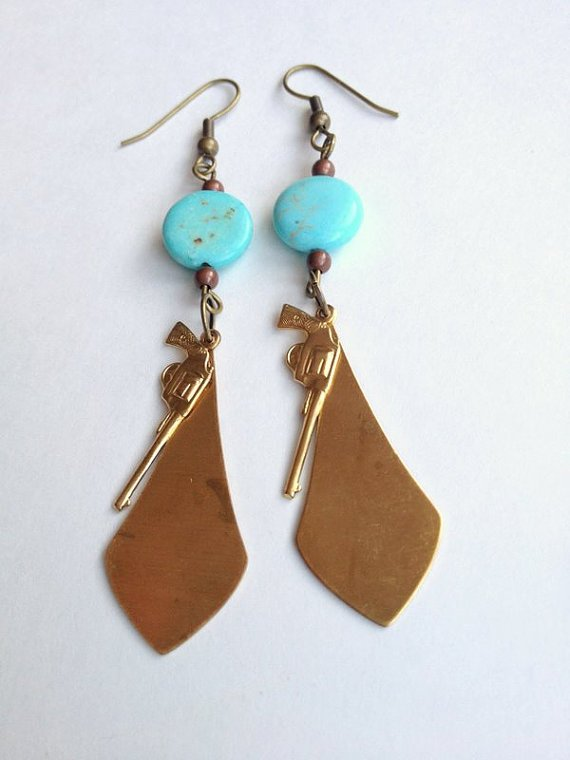 Howlite Pistol Earrings