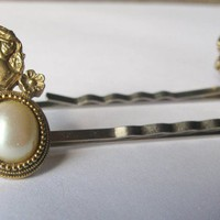 Vintage Cameo Hair Pins