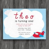 Red and Blue Airplane Customizable Printable Birthday Invite