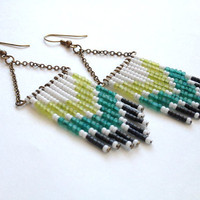 Lime Teal and Gray Chevron Earrings