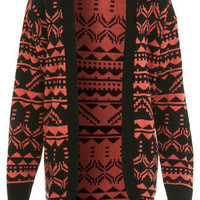 Coral Aztec Cardi - Sweaters &amp; Cardigans  - Apparel  - Miss Selfridge US