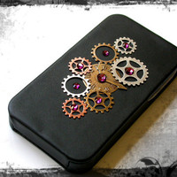 Steampunk  iPhone 4 and 4s Flip Case -  Mixed Metal - Amethyst Swarovski Rhinestones on Black Leatherette