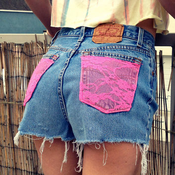 High waist denim shorts, lace pockets (Size LARGE)
