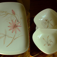 Winfield Passion Flower Platter and Divided Bowl 2 pieces
