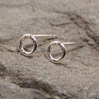 Tiny silver hoop earrings 5mm Small circle studs Modern classic jewelry by SARANTOS