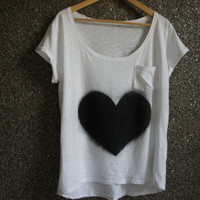 Hand Painted  T Shirt Black&White Love  / Loose Blouse / Casual / CIJ Sale - 25 % Off