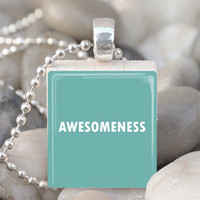 Scrabble Tile Pendant Awesomeness Pendant Awesomeness Necklace With Silver Ball Chain (A710)