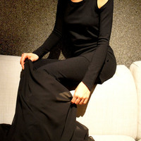 "Black Top  , Black Leggings , Black Shawl ""All Black - Bold and The  Beautiful"""