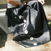 Maxi Black Skirt / Extravagant Black Satin Skirt OOAK
