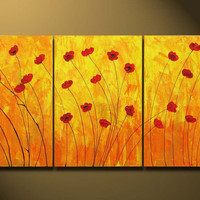 LARGE ORIGINAL Painting Contemporary Fine Art Love Flowers Modern Acrylics Abstract Red Floral Poppies Gallery Ready to hang