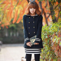 YESSTYLE: Candy's Shop- Sailor-Collar Double-Breasted Jacket (Navy Blue - One Size) - Free International Shipping on orders over $150