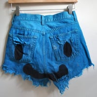 blue smiley face high waisted cutoffs