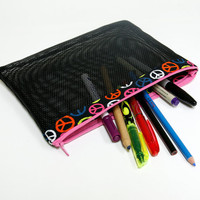 Peace sign school pencil pouch