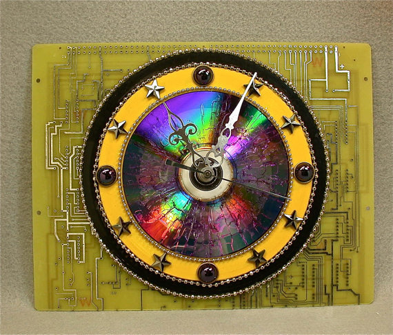 Recycled CIRCUIT BOARD Geek Wall CLOCK 45 rpm Yellow Black Records