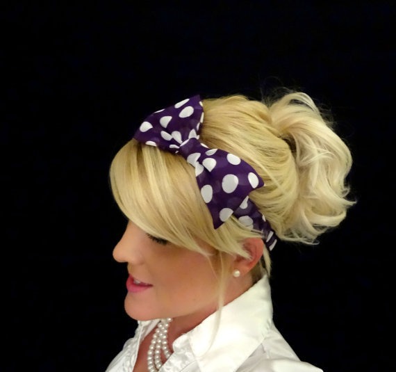 Deep purple and white polka dot chiffon stretch bow headband for adult/child