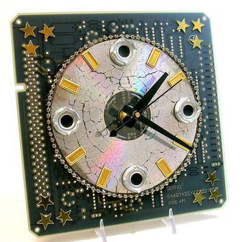 Recycled CIRCUIT BOARD CLOCK Techie Geek Milky Way