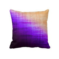 Orange and Purple Grunge Throw Pillow from Zazzle.com