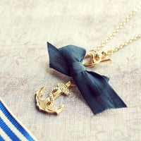 Anchor necklace - blue ribbon - nautical necklace with a navy blue touch - delicate summer sea side inspired necklace - Last piece