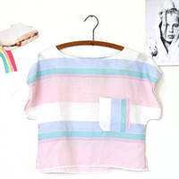 pastel STRIPED boxy CROP top
