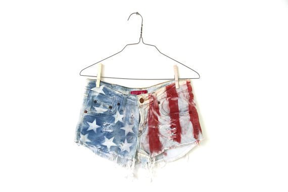 sexual american, denim flag shorts