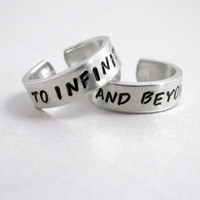 To Infinity and Beyond - Set of TWO Rings- Hand Stamped Aluminum Ring - Customizable with Names