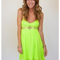 Neon Green Spaghetti Strap Dress with Sheer Overlay Skirt