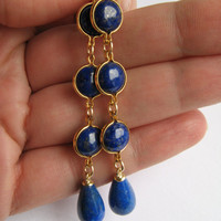 Blue Drop Earrings Genuine Lapiz Lazuli by exhaustedcreativity