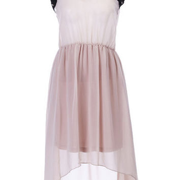 Rivets Detailed Anomalous Apricot Dress [NCSKD0277] - $47.91 :