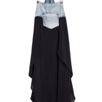 Splicing Denim Black Strap Dress [NCSK0403] - $48.99 :