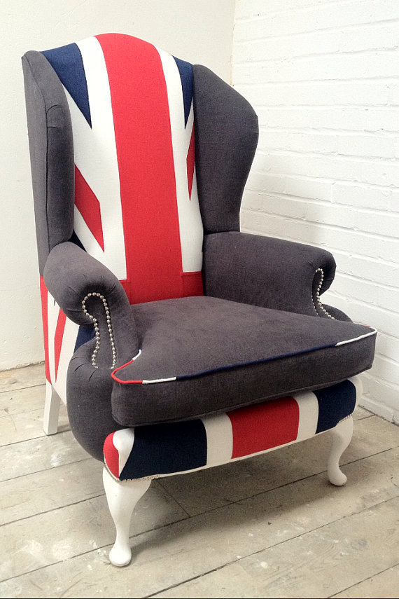 Bespoke Queen Anne Wing Chair Union Jack from